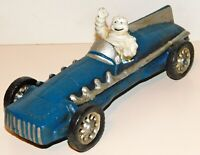Vintage Cast Iron Blue Michelin Man Driving 1934 Grand Prix Racing Car ~ HUBLEY