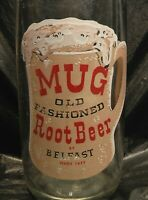 BELFAST MUG ROOT BEER RARE CLEAR GLASS BOTTLE 28 OUNCE SAN FRANCISCO 1957 PEPSI