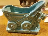 Vintage McCoy Pottery What About Me? Baby Carriage w/Puppy Dog Blue Planter