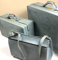 Hartmann Vintage 60s Belting Blue Leather 3 PC Luggage Set Lot Suitcase Travel