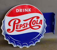 PEPSI COLA BOTTLE CAP Flange Sign  SODA POP  modern retro