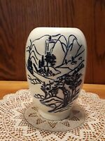 VTG White Japanese Art Pottery Vase Contrast Blue Incised & Embossed Relief