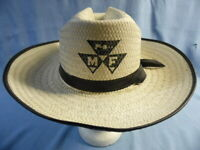 VINTAGE MF MASSEY FERGUSON WHITE STRAW HAT WITH BLACK TRIM & LETTERING ~ MEDIUM!
