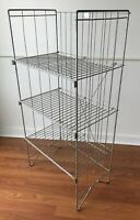 Antique Metal Display Bakery Bread Rack 3 Tier Shelf General Country Store Folds