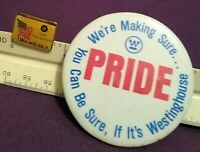 Westinghouse Advertising Pin quot;Pridequot; amp; Lapel Pin quot;Yield Improvementquot; Two 2 Pins