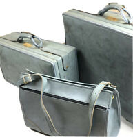 Hartmann Vintage 60s Belting Blue Leather 3 PC Luggage Set RARE Suitcase Travel