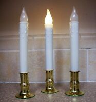 3 Timer Candles 8 Hr Taper Non-flickering LED Warm White Bulb AA battery Window