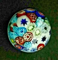 Unique art glass HAND MADE small paperweight millefiori