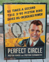 Vintage 30's  PERFECT CIRCLE Auto Litho Tin Sign with Charles Lindbergh gas car