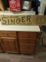 Early Singer Sewing Machine Sign ( Wood)