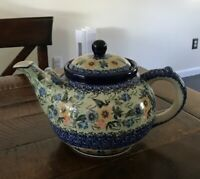 Unikat Art Pottery Handmade In Poland 6-cup Teapot Never used MINT condition