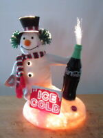 VINTAGE COCA COLA LIGHTED SIGN STORE SNOWMAN MERCHANDISE DISPLAY