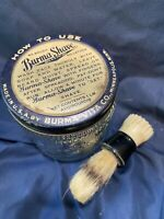 Vintage Burma Shave Jar 1lb And Horse Hair Brush By Rex