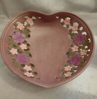 Veverka Signed Large Pottery Bowl Cutout Floral Design