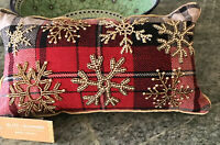 CHRISTMAS PILLOW GLITTER GLAM red plaid Glitter Snowflakes NWT