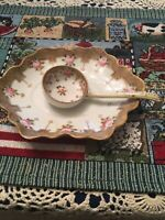 Hand Painted Nippon Nut Dish And Spoon