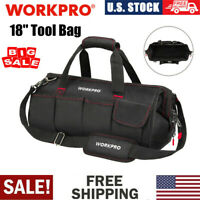WORKPRO 18quot; Zipper Tool Bag Wide Mouth Heavy Duty Carry Work Tote Storage Case