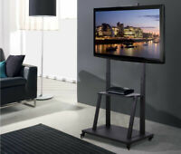 Mobile TV Stand with Mount Shelf Rolling TV Cart Trolley fr 42 100quot; Jumbo Screen $179.99