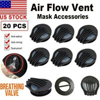 20 Sports Breathing Valves Exhalation Filters For Face Mask Replacement Parts
