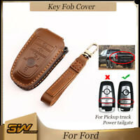 Leather Key Cover Remote Fob Smart For Ford F150 250 Pickup Tailgate 5 Btn Brown $19.99