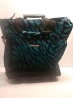 Wisdom 16 Inch Travel Suitcase On Wheels Blue with black stripes
