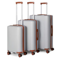 3 Piece Rolling Luggage Hardside with Wheels Silver Set 20 24 28#x27;