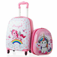 2PC Kids Luggage Set 12quot; Backpack amp; 16quot; Rolling Suitcase for School Travel ABS