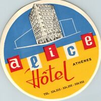 ATHENS ATHENES GREECE HOTEL ALICE OLD LUGGAGE LABEL