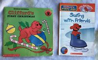 Clifford The Big Red Dog BOOK LOT First Christmas amp; Skating With Friends $1.50