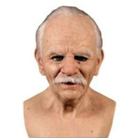 Cosplay Bald Old Man Halloween Party Realistic Props Creepy Wrinkle Face Mask US