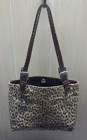 Brighton Leopard Print Fabric and Leather Shoulder Bag Purse Tote
