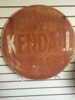 1950s VINTAGE KENDALL MOTOR OIL SIGN 2 Ft Double Sided Red