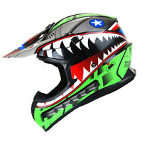 New Adult DOT Motocross Helmet MX BMX ATV Dirt Bike Storm Shark Green S M L XL