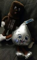x2 Lot BENDABLE HERSHEY'S CHOCOLATE KISS & BAR PLUSH STUFFED ANIMAL GIRL BOY C