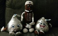 x3 Lot BENDABLE HERSHEY'S CHOCOLATE KISS & BAR PLUSH STUFFED ANIMAL GIRL BOY D