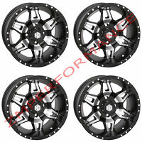 STI HD7 MATTE BLACK / MACHINED 14x7 4/110 5+2 (SET OF 4) ATV UTV WHEELS