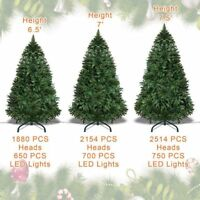 Artificial Christmas Tree 6.5/7/7.5' Full w Clear LED Lights and Base