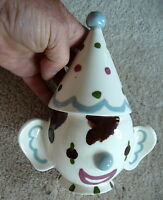 CLEMINSON#x27;S of CALIFORNIA Vintage ART POTTERY CLOWN WITH POINTY HAT SUGAR BOWL