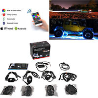 Multicolor 4 Pod RGB LED Rock Light OffRoad Music Wireless Bluetooth Control ATV