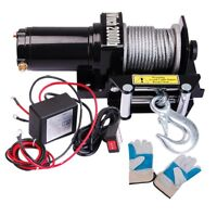 2000lb 0.9HP Electric Recovery Winch Free Gloves ATV UTV Trailer Truck Car 12V