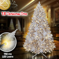 Deluxe Artificial Pre-lit White Christmas 7.5ft Tree 750 Lights 2514 Branch Tips