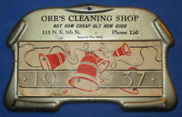 VINTAGE 1937 ORR'S CLEANING SHOP ADVERTISING SAMPLE CHRISTMAS BELL 5