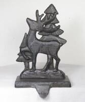 Cast Iron Deer with Trees Christmas Stocking Holder Hanger