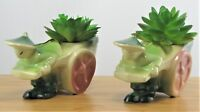 2 Vintage Mid-Century Shawnee USA 539 Asian Man Pulling Rickshaw Green and Red