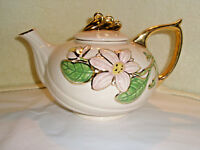Vintage HULL ART Porcelain Teapot Pink Flowers Gold Trim