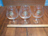 Vintage Set Of 3 BACARDI GOLD RESERVE RUM Glass Snifters