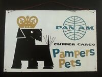 Vintage Dog Pet Sign Pan Am Airlines Carryon Cargo Black Scottish Terrier