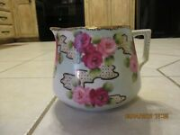 Vintage Nippon Lemonade Pitcher Hand painted Rose Floral Red Pink Farmhouse