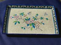 EARLY FRENCH LONGWY 19TH CENTURY ENAMEL POTTERY TRAY WITH JAPONISME DECOR