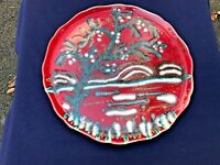 UNUSUAL FRENCH LONGWY POTTERY ABSTRACT DESIGN CHARGER..PLATE FROM THE 1940S